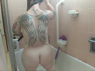 Midget under shower