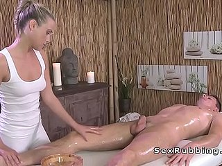 Naked guy gets rub-down and sex with blonde masseuse