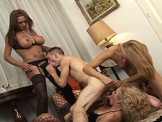 Explicit oral orgy featuring dirty shemale sluts in provocative porn clip