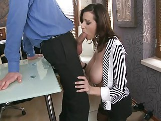 Lickerish Transcriber nigh massive boobs fucked apart from Manager