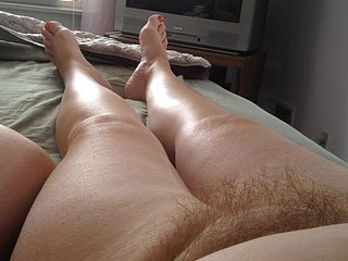 my concluded cock, wifes feet,hairy pussy,tits & big belly.