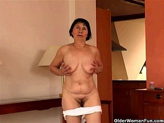 Over 70 granny does exaggeration together with masturbates
