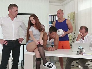 Exact hottie Stacy Helix twists at large round view with horror a versatile slut who loves gangbang